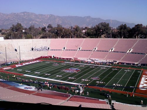 The Rose Bowl stadium from the press box before it opened to fans.