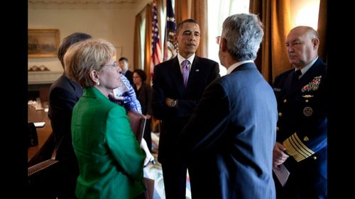 President Barack Obama talks with, from left, Energy Secretary Steven Chu, Dr. Jane Lubchenco, administrator of the National Oceanic and Atmospheric Administration, Dr. John Holdren, director of the Office of Science and Technology Policy, and National Incident Commander Admiral Thad Allen, in the Cabinet Room of the White House, June 7, 2010, following a meeting with Cabinet members to discuss the administration's ongoing response to the BP oil spill in the Gulf of Mexico. (Official White House Photo by Pete Souza, from whitehouse.gov)